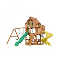 Деревянный детский городок - IGRAGRAD PREMIUM ШАТО SUN домик, 2 качели, 2 горки, скалодром, фото 1